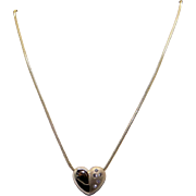 Fantastic 14k Yellow Gold .15ct Round Diamond Pave Heart Slide Pendant Necklace 17 inch