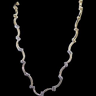 Fine 14k Yellow White Gold .55ct Round Cut Diamond Tennis Wave Necklace 17 inch