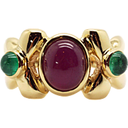 Outstanding 14k Yellow Gold 3.40ct Oval Cut Cabochon Ruby Emerald Cluster Band Ring Size 7.5