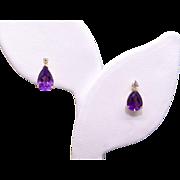 14k Yellow Gold 1.54ct Pear Shaped Amethyst Diamond Button Stud Earrings