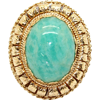 Exquisite 18k Yellow Gold Oval Cabochon Cut Blue Green Agate Flower Ornate Ring Size 4