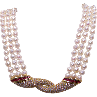 Spectacular 14k Yellow Gold 5.70ct Princess Cut Ruby Diamond Triple Strand Cultured Pearl Necklace
