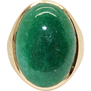 Mens 14k Yellow Gold 18ct Cabochon Green Moss Agate Solitaire Band Ring Size 10.5