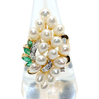 Exceptional 14k Yellow White Gold 4mm Cultured Pearl Emerald Diamond Grape Cluster Cocktail Ring Size 8