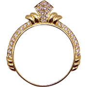 18k Yellow Gold .72ct Round Diamond Pave Coin Frame Pendant Necklace