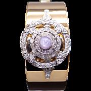 Gorgeous Retro Bulova 14k Yellow Gold Platinum 3.52ct Diamond & Star Sapphire Cuff Bracelet Watch