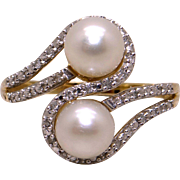 14k Yellow Gold Twin 6mm Cultured Pearl Round Diamond Cluster Band Ring Size 7.25