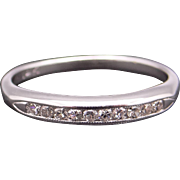 14k White Gold .15ct Round Diamond 2.5mm Channel Wedding Band Stack Ring Sz 4.5