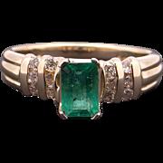 14k Yellow Gold .72ct Emerald Cut Emerald Round Diamond Band Ring Size 6