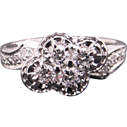Awesome 14k White Gold .50ct Round Cut Diamond Cluster Cocktail Band Flower Ring Size 6.75