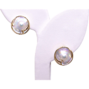 14k Yellow Gold 13.5mm Cultured Mabe Pearl Button Stud Earrings