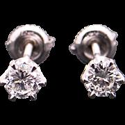 Vintage Estate 14k White Gold .60ct Round Brilliant Cut Diamond Stud Earrings With Screw Backs