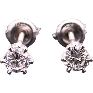 Dazzling 14k White Gold .60ct Round Brilliant Cut Diamond Stud Earrings With Screw Back