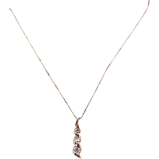 14k Yellow Gold .33ct Round Cut Diamond Journey Love Pendant Necklace 18""
