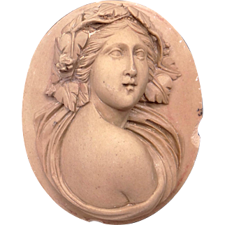 Carved Stone Cameo Woman Portrait Brown Beige