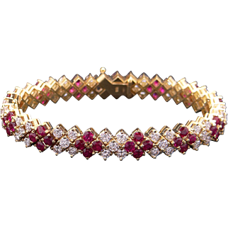 Gorgeous 18k Yellow Gold 12.84ct Ruby & Diamond Tennis Link Flower Bracelet 6.75 inch