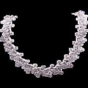Spectacular 18k White Gold 8.65ct Round Cut Diamond Tennis Flower Bezel Necklace 15 inch