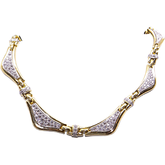 Gorgeous 18k Yellow Gold 7ct Round Cut Diamond Tennis Link Wave Necklace 16 inch