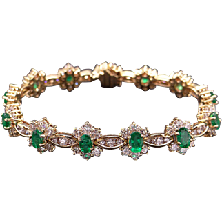 Magnificent 18k Yellow Gold 11.60ct Oval Emerald Diamond Halo Tennis Link Bracelet 6.5 inch