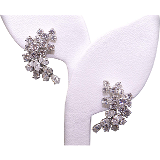 Exquisite Platinum 4.55ct Round & Marquise Cut Diamond Flower Swirl Cluster Stud Earrings With Omega Backs