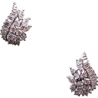 Incredible 18k White Gold 3.15ct Round Marquise Baguette Cut Diamond Flower Swirl Cluster Stud Earrings With Omega Backs
