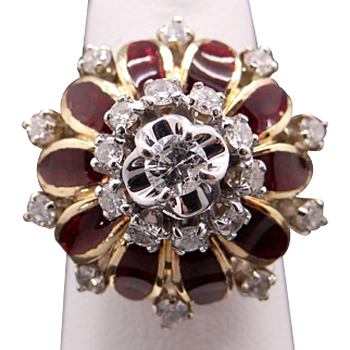 Stunning 18k Yellow Gold 1ct Round Diamond Red Enamel Dome Band Cluster Ring Size 6.75