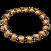 Exceptional Retro Mauboussin Paris 18k Yellow Gold 5ct Blue Sapphire Link Bracelet 6.5 inch