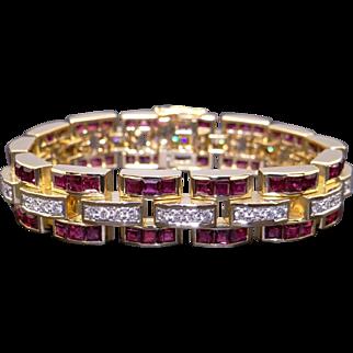 "Spectacular 18k Yellow Gold 11.20ct Princess Ruby &  Round Diamond Tennis Link Wide Bracelet 7"""