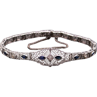 Art Deco 14k White Gold .72ct Marquise Cut Sapphire Diamond Filigree Bracelet