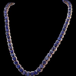 Retro Era Rivera 14k Yellow Gold 12ct Round Sapphire Graduated Tennis Link Necklace 15 inch