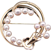Mikimoto 14k Yellow Gold Round Cultured Pearl Cluster Circle Swirl Flower Brooch Pin