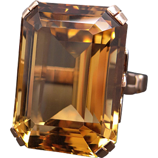 Huge Retro 14k Rose Gold 30ct Emerald Cut Citrine Solitaire Ring Size 6
