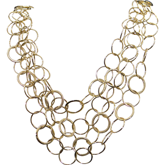 Striking 14k Yellow Gold Fancy Circle Link Chain Quadruple Strad Necklace 16 inch