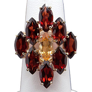 Stunning 14k Yellow Gold 8.75ct Marquise Cut Citrine Garnet Cluster Fan Ring Size 7