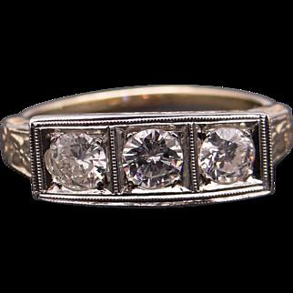 Art Deco 14k Yellow White Gold .60ct Round European Diamond Three Stone Ring Sz 8