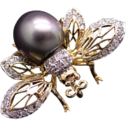 18k Gold Round Diamond Grey Cultured Tahitian Pearl Butterfly Bee Spider Bug Brooch Pin