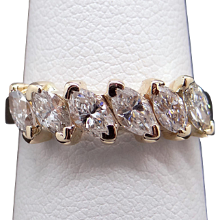 Unique 14k Yellow Gold 1ct Marquise Cut Diamond 5.5mm Wedding Band Ring Size 6.5