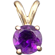 Classic 14k Yellow Gold .75ct Round Cut Purple Amethyst Solitaire Slide Pendant