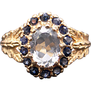 Fantastic 10k Yellow Gold 1.65ct Blue Topaz Sapphire Cluster Ring Size 7