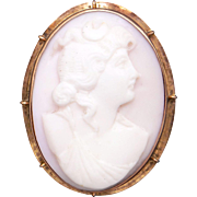 Vintage 10k Yellow Gold Carved Coral Cameo Woman Portrait Profile Brooch Pin Pendant