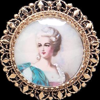 Vintage Estate 14k Yellow Gold Painted Woman Portrait Pendant Brooch Pin Pendant