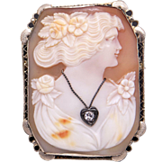 Art Deco 14k White Gold Carved Shell Cameo Woman Wearing Diamond Pendant Brooch Pin