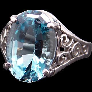 Ornate 14k White Gold 7ct Oval Blue Topaz 14.5mm Filigree Ring Size 7