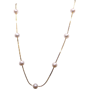 Vintage 14k Yellow Gold 7mm White Cultured Pearl by the Yard Strand Necklace 17 inch