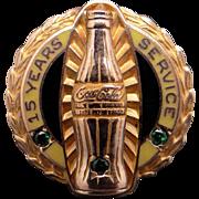 Coke Bottle 10k Yellow Gold Emerald Tie Tac 15 Year Service Pin