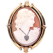 Deco 10k Yellow Gold Carved Shell Cameo Woman Wearing Diamond Heart Pendant Brooch Pin