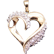 14k Yellow Gold .32ct Round Cut Diamond Heart Cluster Love Charm Pendant