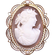 Vintage 10k Yellow Gold Carved Shell Cameo Cultured Pearl Woman Portrait Pendant Brooch Pin