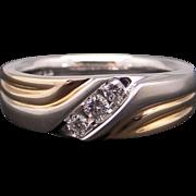 Men's 14k Yellow White Gold .20ct Round Cut Diamond Wedding Band Ring Size 10.5