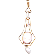 Vintage Estate 10k Yellow Gold Carved Coral Cameo Diamond Cultured Pearl Pendant